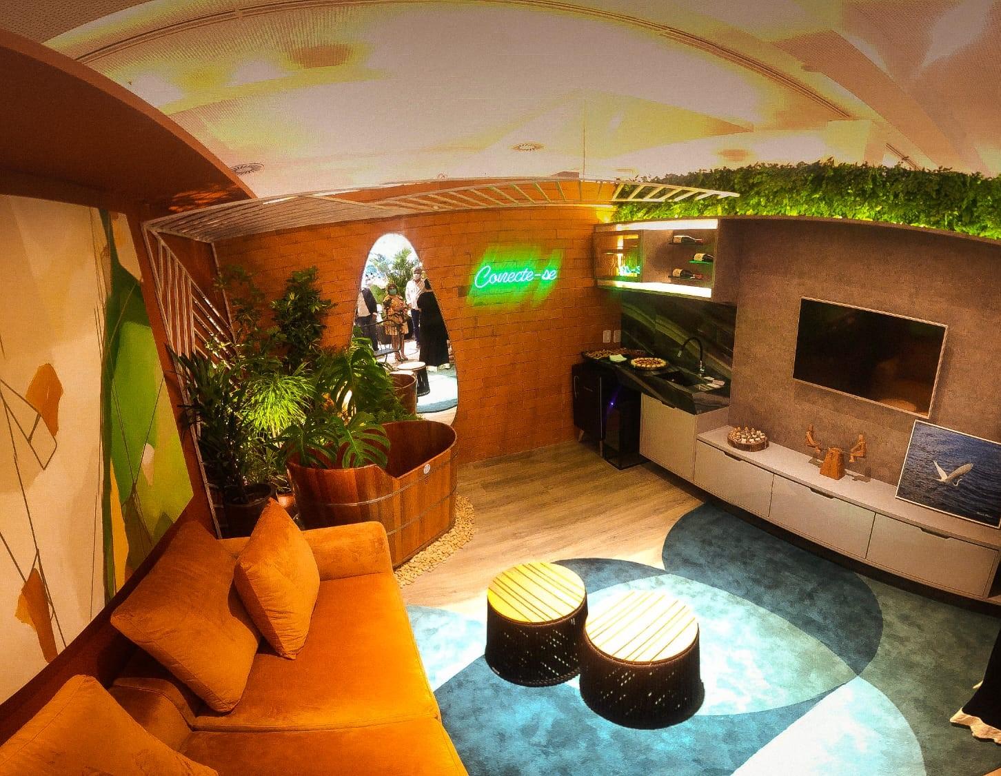 O ambiente foi desenvolvido com cores que remetem a natureza, proporcionando uma conexão natural dentro de casa Crédito - Divulgação .jpeg